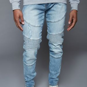 Light blue stretch denim men's jeans